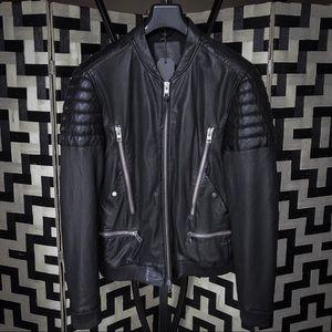 136bea7dc All Saints Sanderson Leather Bomber Jacket NWT